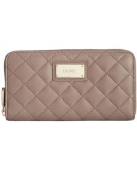 DKNY Gansevoort Quilted Large Zip Around Wallet - Lyst