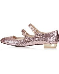 Topshop Womens Fizz Glitter Mary Jane Shoes - Nude - Lyst