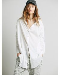 Free People Oversize Ruched Sleeve Long Shirt - Lyst