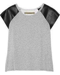 Enza Costa Leatherpaneled Slub Jersey Tshirt - Lyst