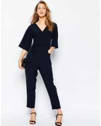 ASOS | Wrap Jumpsuit With Kimono Sleeve | Lyst