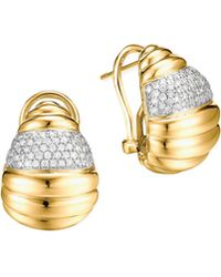 John Hardy Bedeg 18k Gold Diamond Pave Buddha Belly Earrings - Lyst