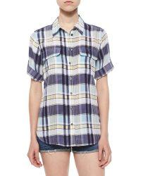 Equipment Signature Short-Sleeved Checked Silk Shirt blue - Lyst