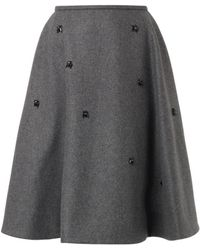 Rochas Crystal-Embellished Wool-Blend Skirt gray - Lyst