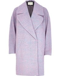 River Island Pink Two-Tone Wool-Blend Oversized Coat - Lyst