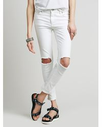 Free People Womens Destroyed Skinny - Lyst