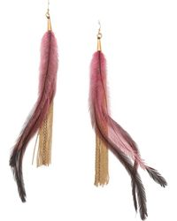 Serefina - Feather & Chain Earrings - Gold/pink - Lyst