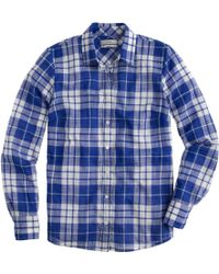 J.Crew Tall Perfect Shirt In Crinkle Blue Plaid - Lyst
