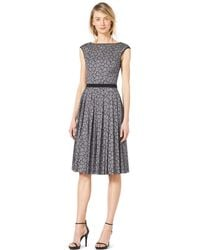 Michael Kors Solidtrim Pleated Lace Dress - Lyst
