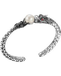 John Hardy Naga Silver Lava Small Cuff with Pearl  Black Sapphire - Lyst