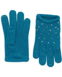 Portolano Teal Studded Gloves - Lyst