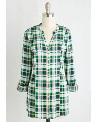 ModCloth | Trusty Travel Top In Green Plaid | Lyst