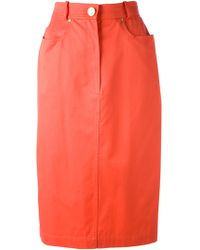 Céline Vintage Orange 80s Skirt - Lyst