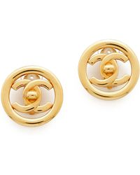 What Goes Around Comes Around Vintage Chanel Turnlock Earrings - Gold - Lyst