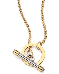 Tory Burch Two-Tone Toggle Pendant Necklace gold - Lyst