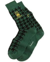Psycho Bunny Digital Houndstooth Knit Socks Greenblack - Lyst