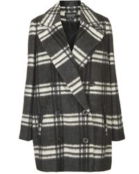 Topshop Double Breasted Pea Coat  Monochrome - Lyst