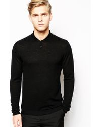 Asos Merino Shawl Neck Sweater - Lyst