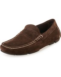 Ferragamo Stitched Suede Penny Driver - Lyst
