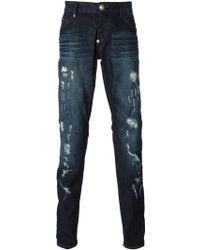 Philipp Plein Distressed Straight Leg Jeans - Lyst