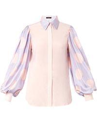 Giles Polka-Dot Print Sleeve Silk Shirt pink - Lyst