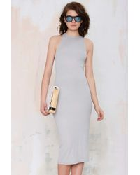 Nasty Gal After Party Vintage Antina Ribbed Dress gray - Lyst