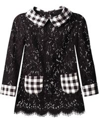 Dolce & Gabbana Gingham-trim Lace Blouse - Lyst