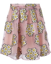 RED Valentino Sheer Flower Embroidered Skirt - Lyst