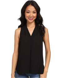 Vince Camuto Sleeveless V-Neck Blouse W/ Inverted Front Pleat - Lyst