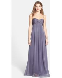 Adrianna Papell Floral Applique Chiffon Dress - Lyst