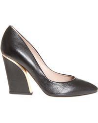 Chloé Split Heel Leather High Heel - Lyst