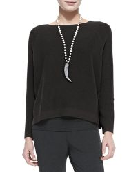 Eileen Fisher Thermal-stitch Long-sleeve Box Top - Lyst