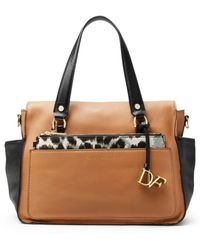 Diane von Furstenberg Voyage Colorblock Leather Satchel Bag - Lyst