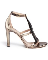 Chloé Fringe Metallic Leather Sandals gold - Lyst