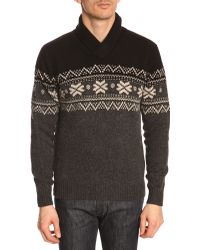 Hackett Snow Crew Shawl Neck Black Sweater - Lyst