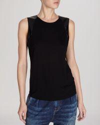 Karen Millen  Faux Leather  Striped Sheer Back Tee - Lyst