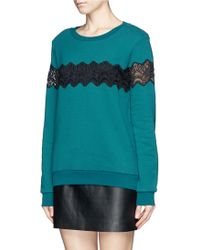 Sandro Torr Sheer Lace Trim Sweatshirt - Lyst