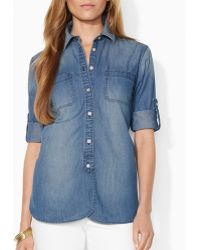 Ralph Lauren Lauren Polka Dot Denim Shirt - Lyst