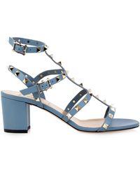 Valentino Rockstud Block-Heel Leather Sandals - Lyst