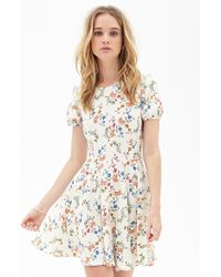 Forever 21 Floral Foliage Skater Dress - Lyst