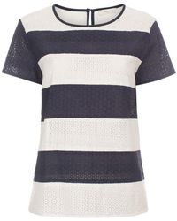 Paul Smith Navy And White Striped Broderie Top - Lyst