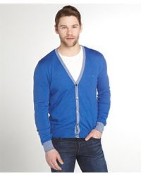 Etro Royal Blue Cotton-Cashmere Cardigan - Lyst