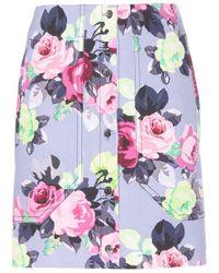 Carven Floral-Print Cotton Skirt blue - Lyst