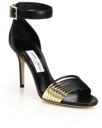Jimmy Choo Livvi Leather & Metallic Leather Sandals black - Lyst