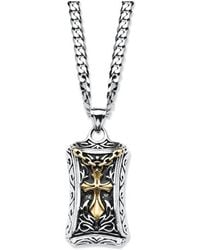 Palmbeach Jewelry - Two-tone Cross Pendant Necklace In Gold Ion-plated Stainless Steel And Stainless Steel 24'' - Lyst