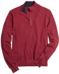 Brooks Brothers Cotton Cashmere Button Mockneck - Lyst