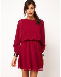 Asos Skater Dress with Angel Sleeve Jewelled Cuff - Lyst
