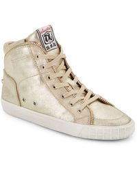 Ash Shake Metallic Leather Hightop Sneaker - Lyst