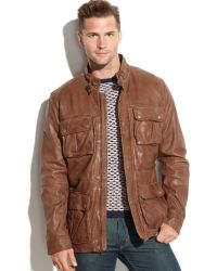 Cole Haan Vintage Leather Four-Pocket Moto Jacket - Lyst