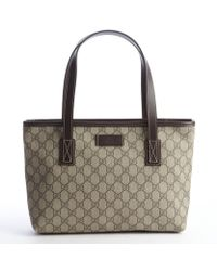 Gucci Beige Coated Canvas Gg Small Imprimã© Tote Bag - Lyst